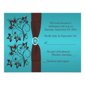Turquesa IMPRESA de la CINTA tarjeta de contestac Invitaciones Personales
