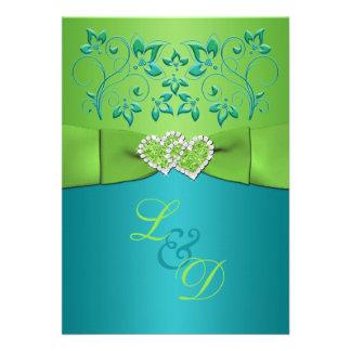 Turquesa invitación unida floral de los corazones