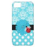 Turquesa linda floral con el caso del iPhone de la