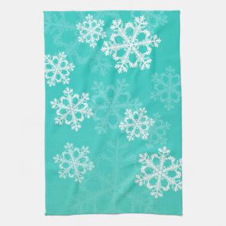Turquesa linda y copos de nieve del navidad blanco toalla de mano