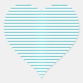 Turquesa linda y rayas blancas pegatina en forma de corazón