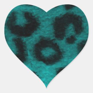Turquesa manchada del trullo del leopardo pegatina en forma de corazón