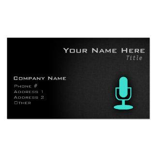 Turquesa, micrófono azulverde tarjetas de visita