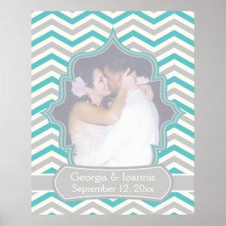 Turquesa moderna, poster gris del boda del galón