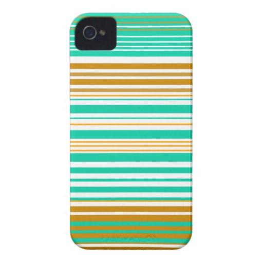 Turquesa moderna y rayas blancas marrones Case-Mate iPhone 4 protector