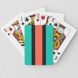 Turquesa, naranja y negro barajas de cartas