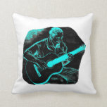 turquesa negra invertida del jugador de la guitarr almohadas