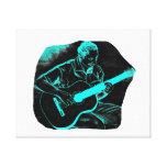 turquesa negra invertida del jugador de la guitarr lona estirada galerias