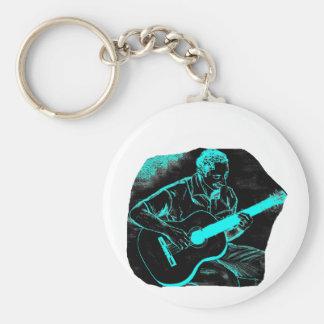 turquesa negra invertida del jugador de la guitarr llavero personalizado