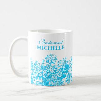 Turquesa nupcial de la cesta floral del favor de taza de café