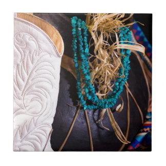 Turquesa occidental del pote del vaquero de la bot azulejo cuadrado pequeño