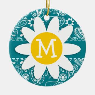 Turquesa oscura Paisley; Margarita Ornamentos De Navidad