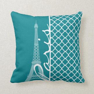 Turquesa oscura Quatrefoil; Torre Eiffel, París Cojin