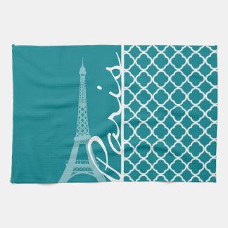 Turquesa oscura Quatrefoil; Torre Eiffel, París Toalla De Mano