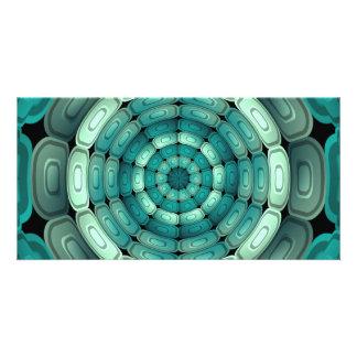 Turquesa oscura radial plantilla para tarjeta de foto
