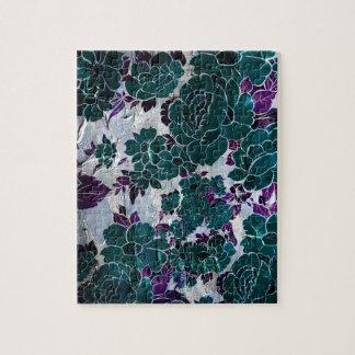 Turquesa oscura Texure color de rosa púrpura Puzzle