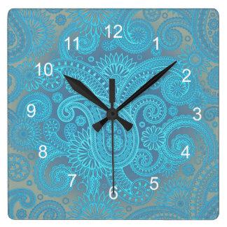 Turquesa Paisley Reloj Cuadrado