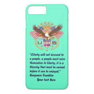 Turquesa patriótica de la paz de la libertad funda iPhone 7 plus