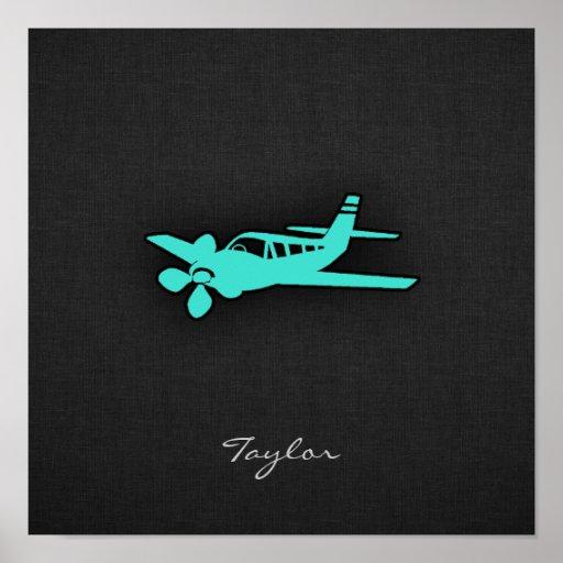 Turquesa; Pequeño aeroplano del verde azul Posters