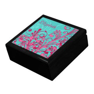 Turquesa personalizada y joyero floral rosado cajas de joyas