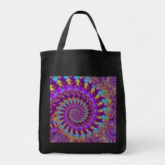 Turquesa púrpura y amarillo del modelo del fractal bolsa tela para la compra