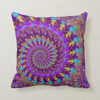 Turquesa púrpura y amarillo del modelo del fractal cojín