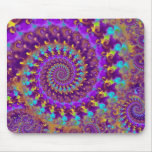 Turquesa púrpura y amarillo del modelo del fractal tapete de raton