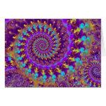 Turquesa púrpura y amarillo del modelo del fractal tarjeta