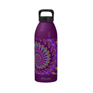 Turquesa púrpura y amarillo del modelo del hippy botella de agua