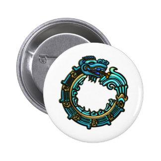 Turquesa Quetzalcoatl Pin Redondo De 2 Pulgadas