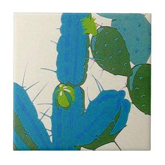 Turquesa retra de la floración del cactus del azulejo cuadrado pequeño