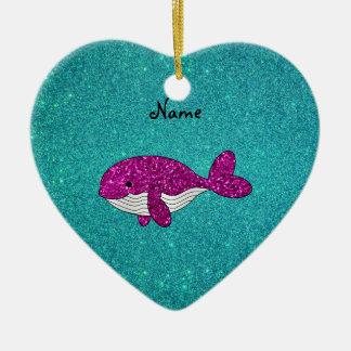 Turquesa rosada conocida personalizada de la adorno de cerámica en forma de corazón