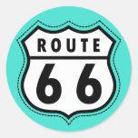 Turquesa, señal de tráfico azulverde de la ruta 66 etiqueta redonda
