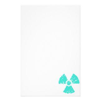 Turquesa, símbolo radiactivo azulverde papeleria personalizada