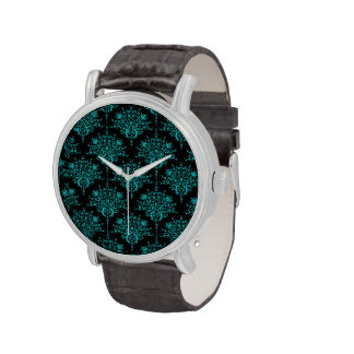 Turquesa sobre modelo negro del damasco relojes de pulsera