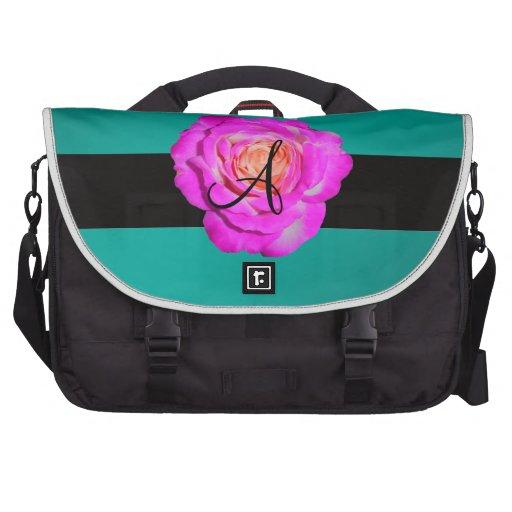 Turquesa subió rosas fuertes del monograma bolsas para portatil