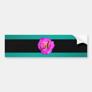 Turquesa subió rosas fuertes del monograma pegatina de parachoque