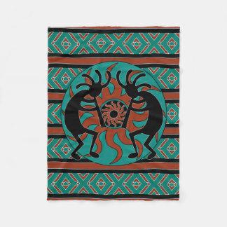 Turquesa Sun tribal Kokopelli del diseño del Manta De Forro Polar
