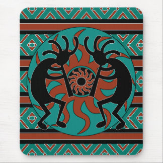 Turquesa Sun tribal Kokopelli del sudoeste Alfombrillas De Ratón