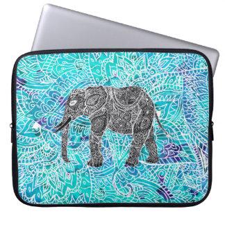 Turquesa tribal del azul del elefante del boho de fundas portátiles