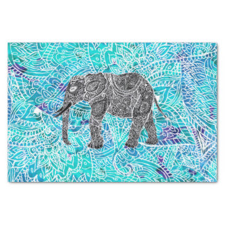 Turquesa tribal del azul del elefante del boho de papel de seda pequeño