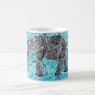 Turquesa tribal del azul del elefante del boho de taza de café