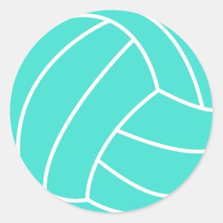 Turquesa; Voleibol del verde azul Pegatina Redonda