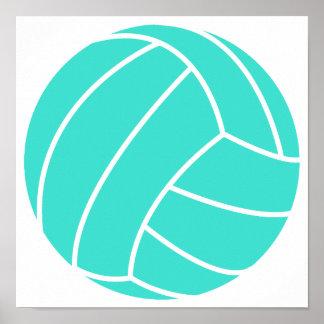 Turquesa; Voleibol del verde azul Póster