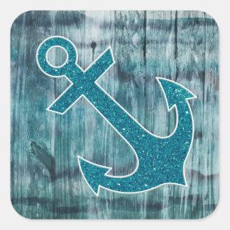 Turquesa y ancla náutica azul del brillo en la mad calcomanías cuadradases