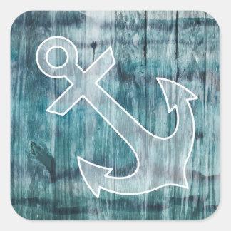 Turquesa y ancla náutica azul en la madera calcomanías cuadradass