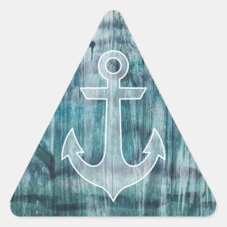 Turquesa y ancla náutica azul en la madera pegatina triangular