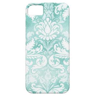 Turquesa y blanco del damasco del vintage de la iPhone 5 Case-Mate protector