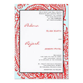Turquesa y boda indio rojo de Paisley