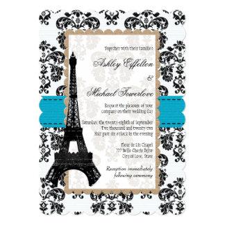 """Turquesa y boda negro de la torre Eiffel del Invitación 5"""" X 7"""""""